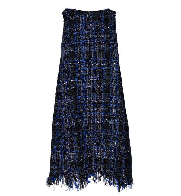 Chanel 14S Dress Black / Blue Fantasy Tweed Sleeveless 36 / 4 nwt - mightychic