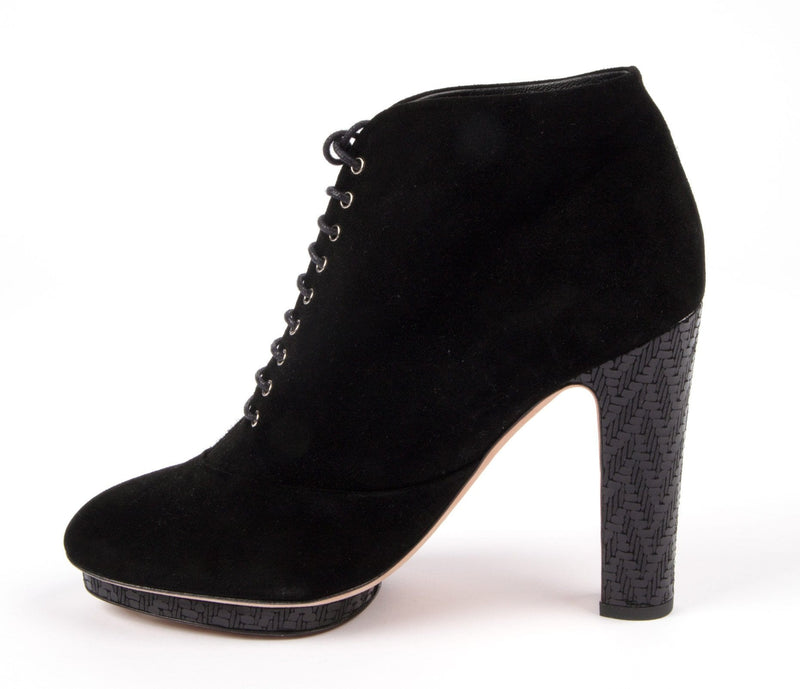 Chanel Boot / Bootie Black Suede Lace Up Blue Leather Deco Heel and Platform - mightychic