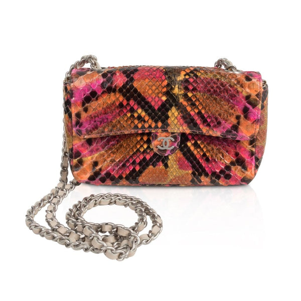 008d99d2221a ... Chanel 00T Runway Mini Flap Multi Coloured Snakeskin Bag Clutch Cross  Body - mightychic ...
