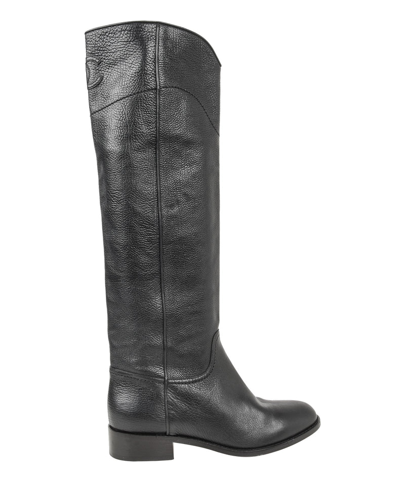 Chanel Boot Black Textured Leather Flat Knee High CC Logo 39.5 / 9.5 - mightychic