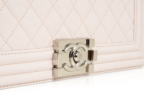 a4a71583f0bc ... Chanel Bag Pale Pink   Nude Quilted Caviar Medium - mightychic ...