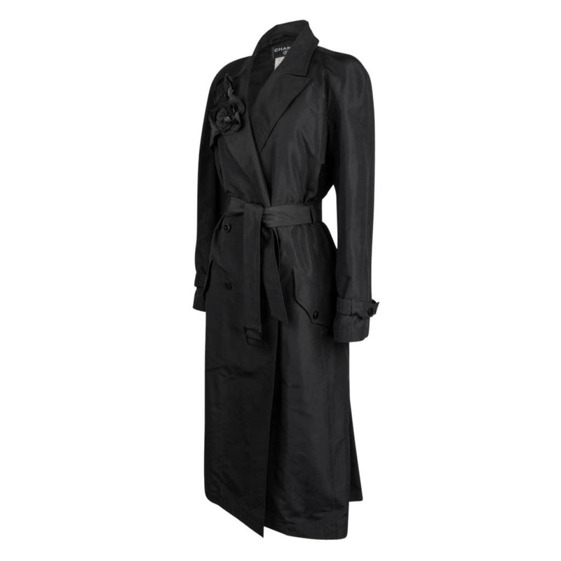 Chanel 03C Coat Trench Style Silk Two Camellia Pins 42 / 8 - mightychic