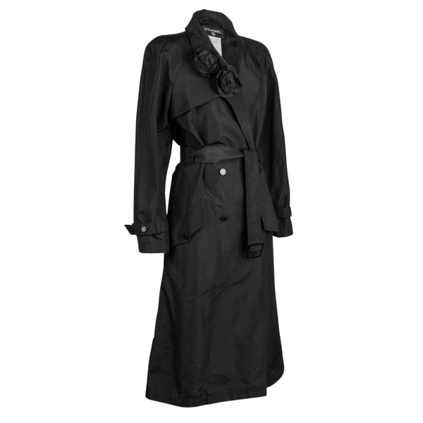 Chanel 03C Coat Trench Style Silk Two Camellia Pins 42 / 8