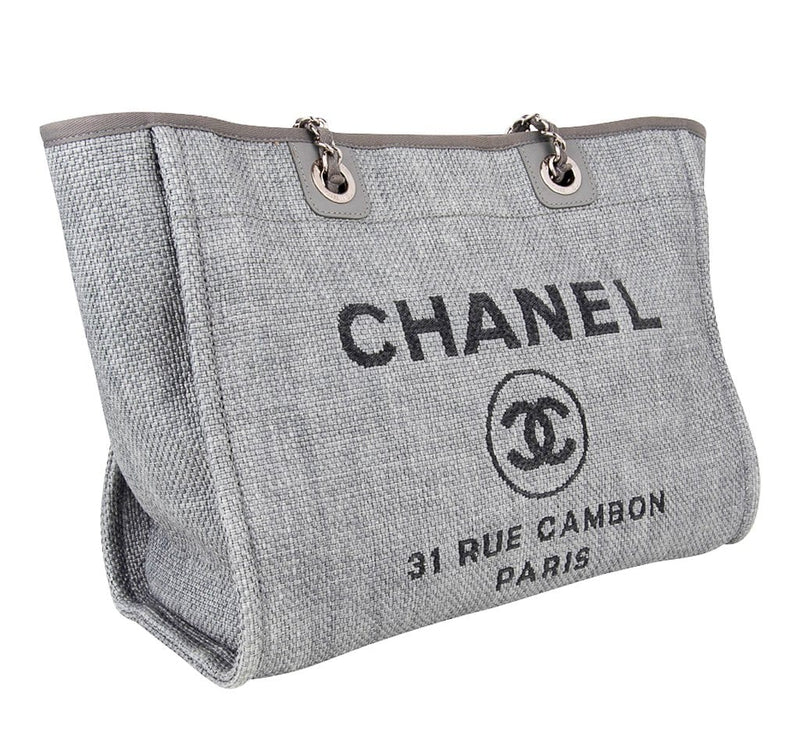 Chanel Bag Small Deauville Tote Grey Raffia
