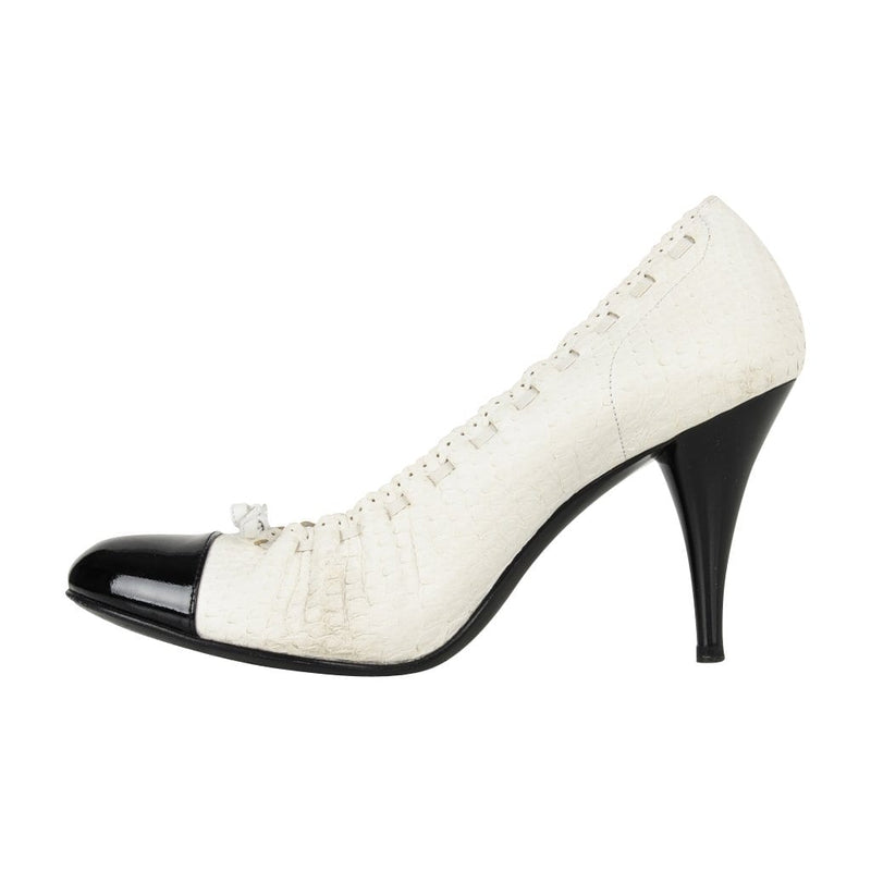 Chanel Shoe White Snakeskin Pump Black Detailed Round Patent Toe Heel  38 / 8 - mightychic