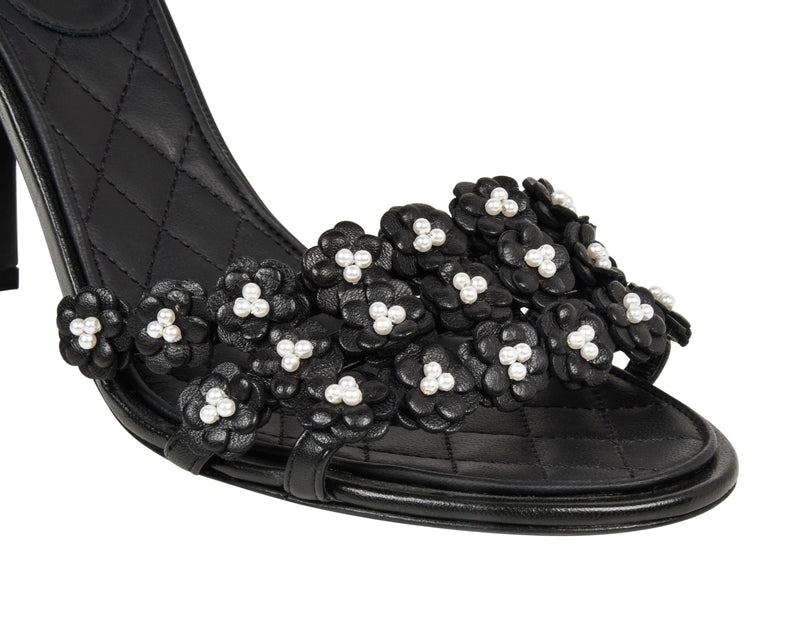 Chanel Shoe Camellia Black Leather Flowers w/ Pearls Sandal 40 / 10 New - mightychic