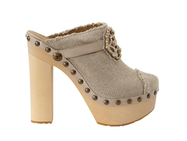 Chanel Shoe Platform Clog Limited Edition Linen Jeweled Accent  40.5 / 10.5 new - mightychic