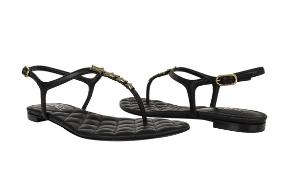 Chanel Shoe Paris Dallas CC Star Black T-Strap Thong Sandals 38C / 8 New