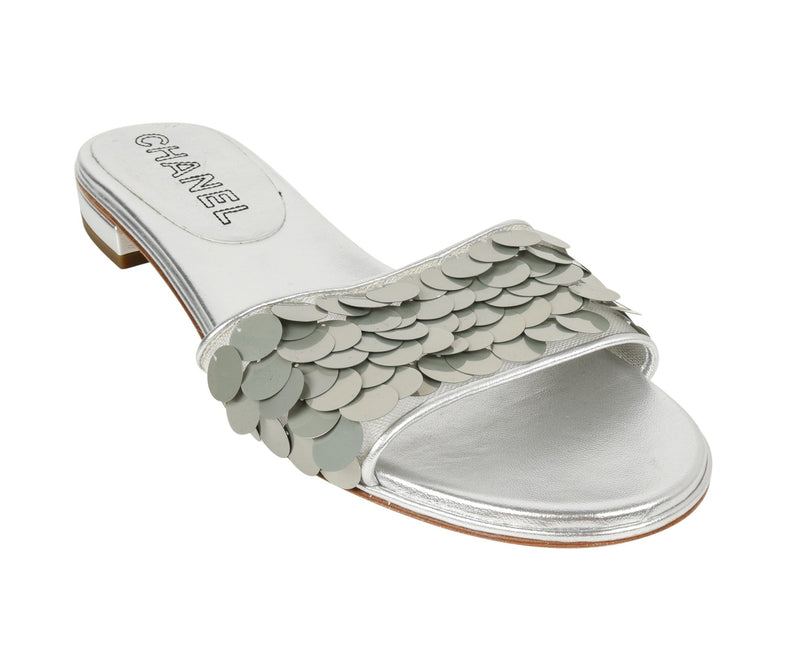 Chanel Shoe Silver Slide Light Catching Paillette Sequins 39.5/ 9.5 New - mightychic
