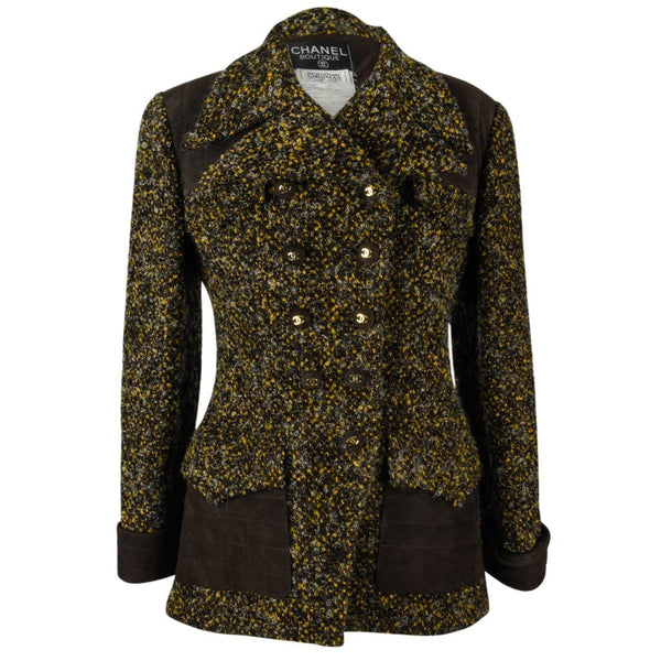 Chanel Jacket Tweed Suede Patches CC Buttons Vintage 40 / 6