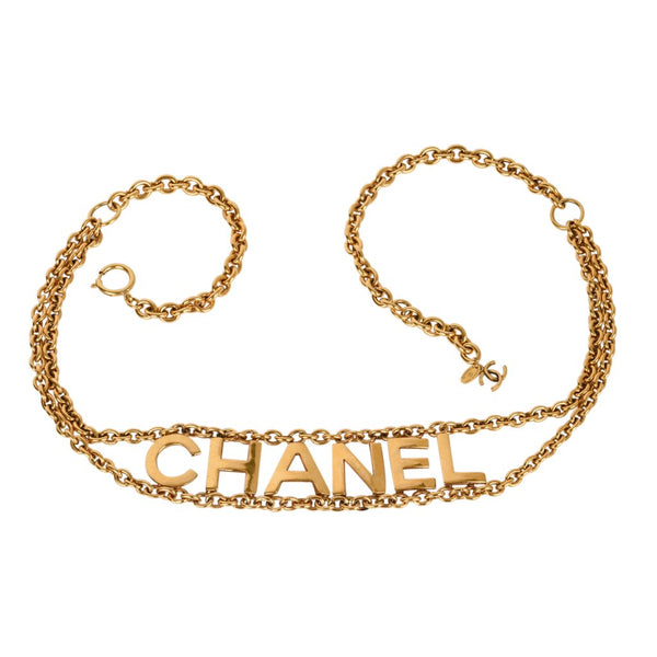 Chanel Belt Vintage Gold Link Chain Chanel Name Spelled Out