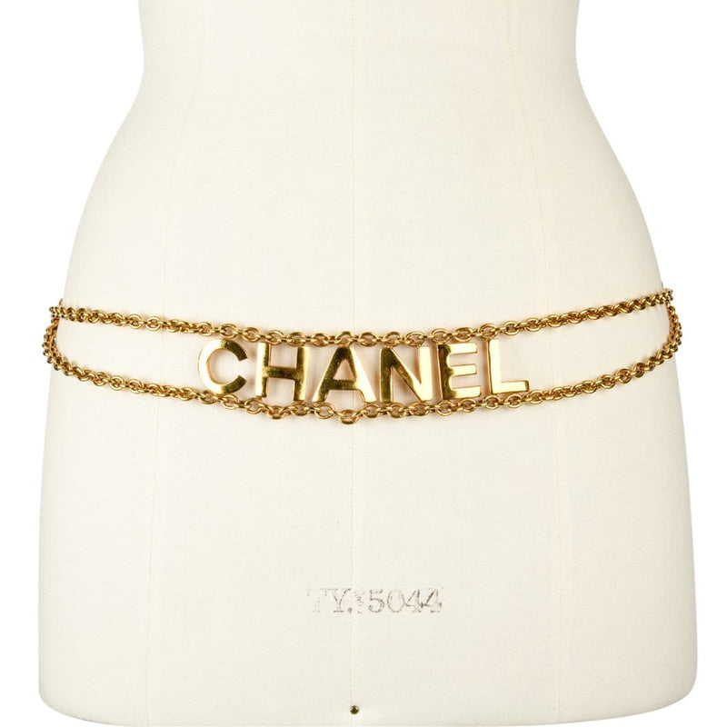 Chanel Belt Vintage Gold Link Chain Chanel Name Spelled Out - mightychic