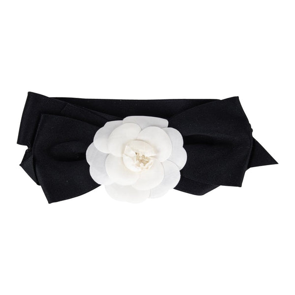 Chanel Headband Vintage Black Silk White Camellia - mightychic