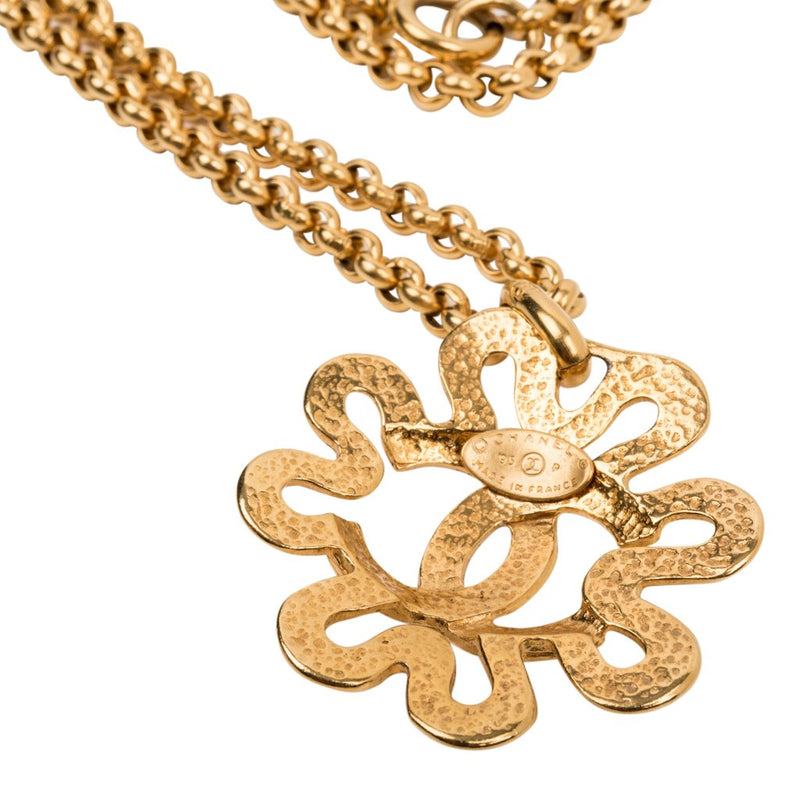 Chanel Necklace Cutout Flower With Large CC Vintage - mightychic