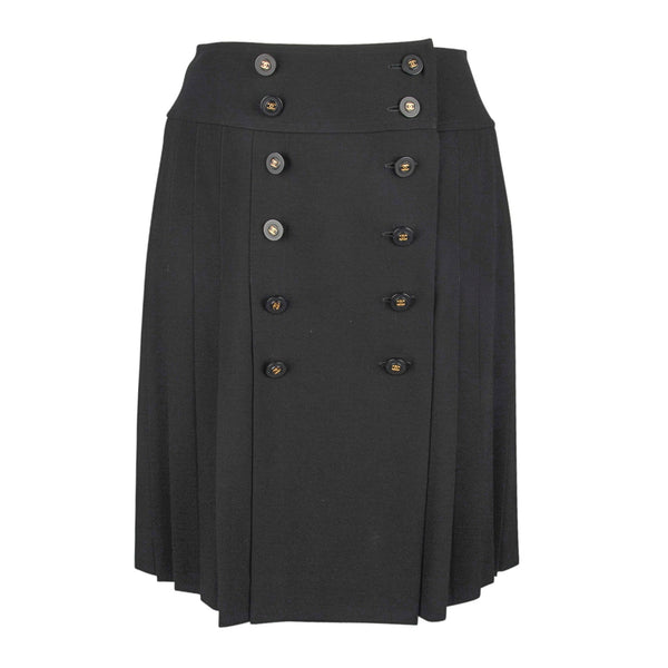 Chanel Skirt Vintage Pleated Double Row Buttons Front 40 / 6