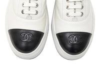 Chanel Sneakers White Leather w/ Black Leather CC To Cap 38 / 8 New w/Box Rare