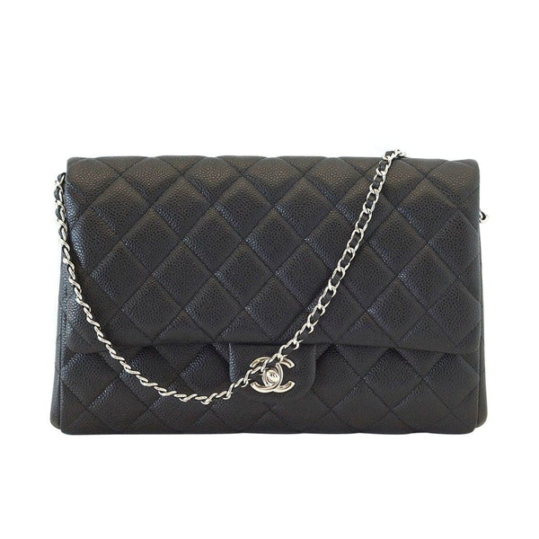 Chanel Bag Flap Flat Black Caviar Clutch / Shoulder Bag
