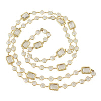 Chanel Necklace Chicklet Sautoir 1981 Vintage Clear Crystals Rare - mightychic