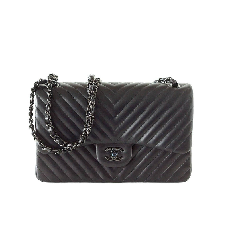 Chanel Bag Chevron So Black Jumbo Classic Double Flap Quilted  New - mightychic