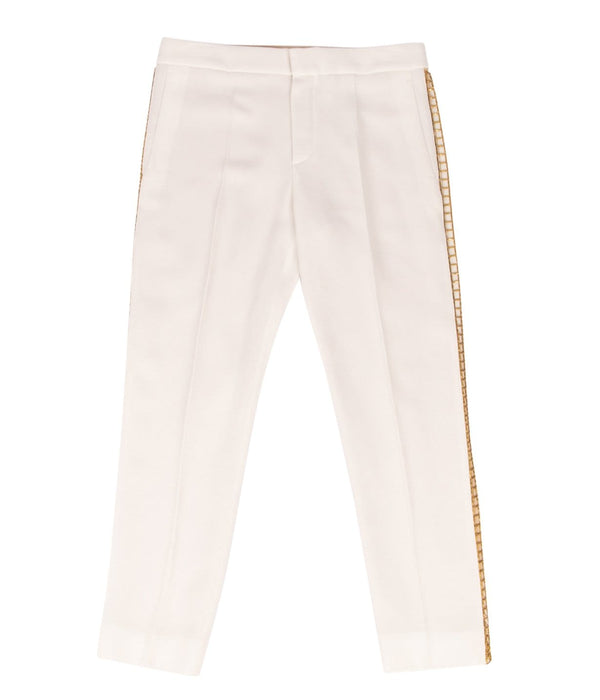 Chloe Pant Winter White w/ Open Gold Metal Detail 36 / 4 - mightychic