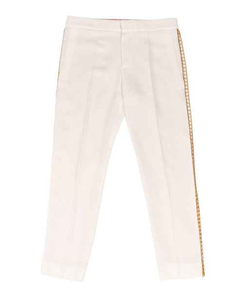 Chloe Pant Winter White w/ Open Gold Metal Detail 36 / 4