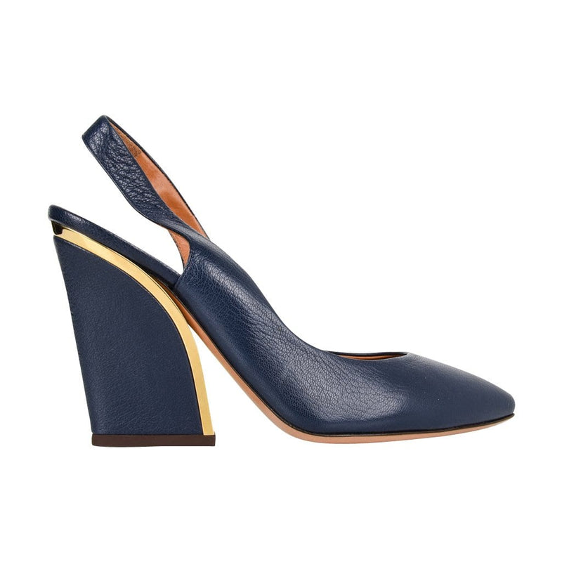 Chloe Shoe Slingback Shaped Block Heel Dark Royal Blue Gold Detail  39 / 9  new - mightychic