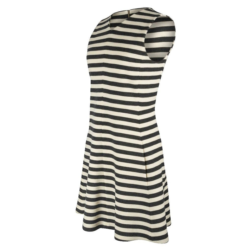 Chloe Dress Striped Charcoal and Vanilla A-Line Modern 38 / 4