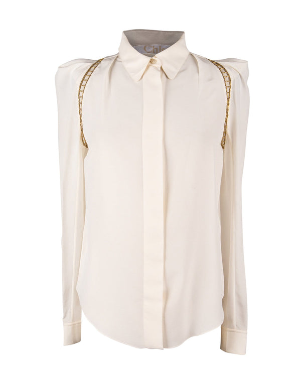 Chloe Top Winter White w/ Open Gold Metal Detail 38 / 6 - mightychic