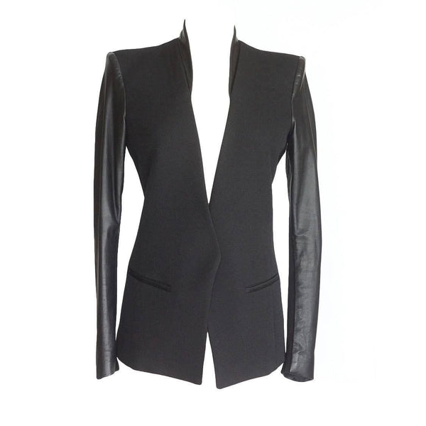Helmut Lang Jacket Wool with Lambskin Sleeves and Insets 6 - mightychic