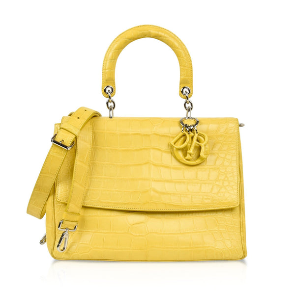 Christian Dior Be Dior Bag Matte Yellow Crocodile Double Flap Shoulder Strap Small