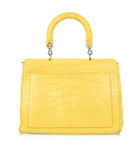 Christian Dior Be Dior Bag Matte Yellow Crocodile Double Flap Shoulder Strap Small - mightychic