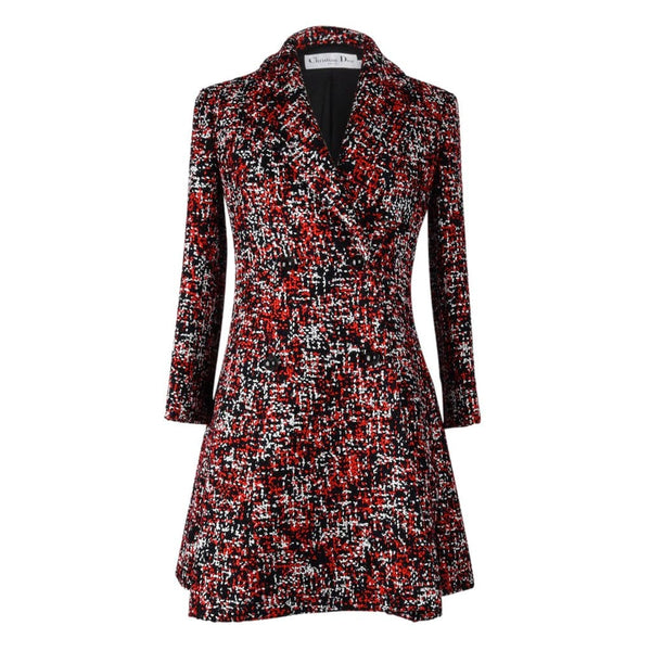 Christian Dior Coat Double Breast Multicolor Tweed fits 6