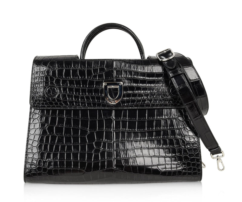 Christian Dior Bag Diorever Matte Black Crocodile Tote Shoulder Strap Mint - mightychic