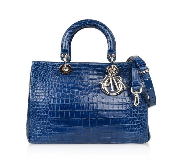 Christian Dior Bag Diorissimo Matte Blue Bi Color Crocodile Tote Medium