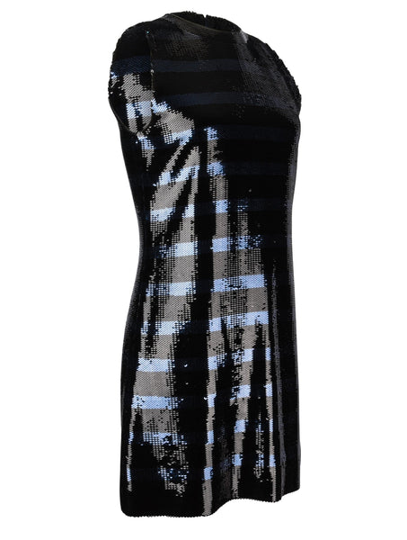 Christian Dior Dress Striped Sequin Embellished Navy / Black 6