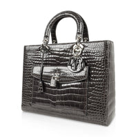 Christian Dior Bag Medium Lady Dior Front Pocket Gray Crocodile Shoulder Strap - mightychic