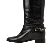 Christian Louboutin Boot Black Cate Flat Knee High Chain Detail 39 / 9 - mightychic