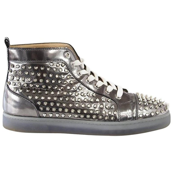 Christian Louboutin Men's Louis Flat Antispecchio Spike Gray Silver 43