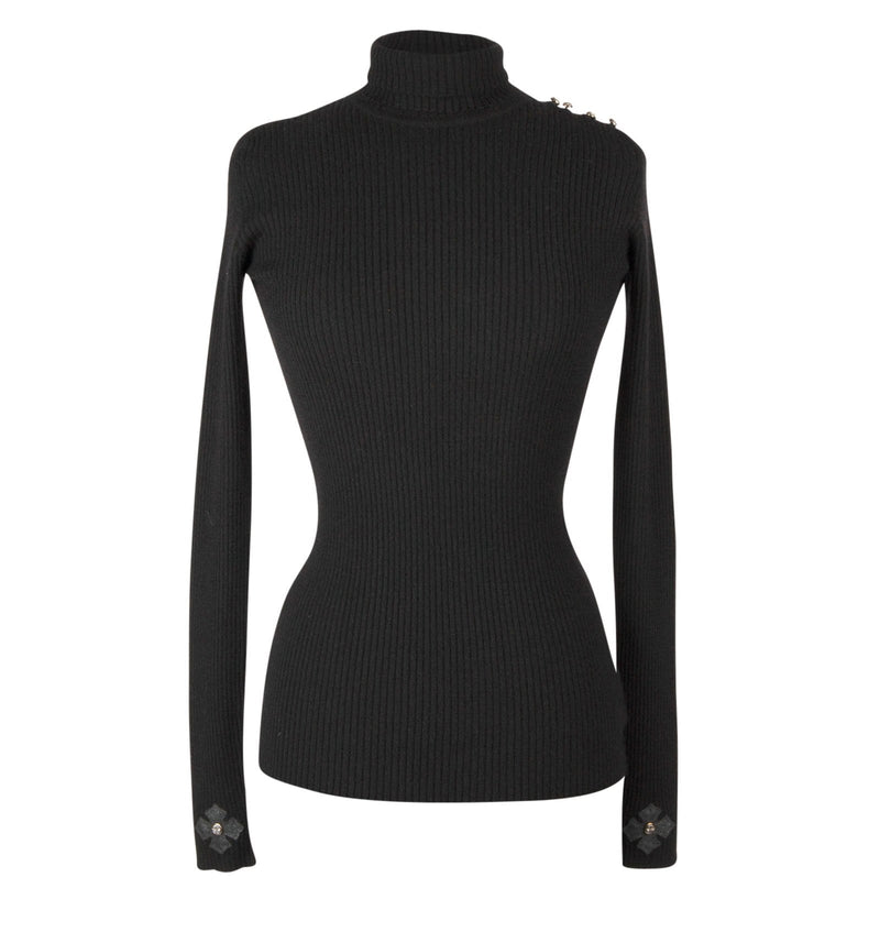 Chrome Hearts Top Cashmere Turtleneck Sterling Silver Buttons Leather Cross - mightychic