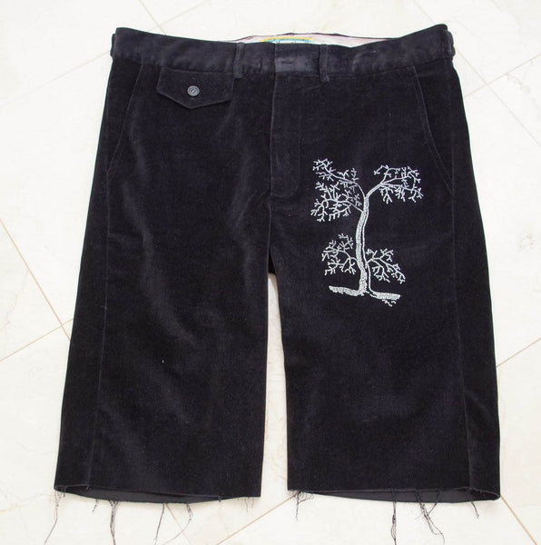 Libertine Pant Black Velvet Shorts Tree of Life Diamantes 30 - mightychic