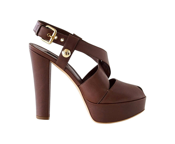 Louis Vuitton Shoe Bold Strap Peep Toe Platform 39 / 9 New - mightychic