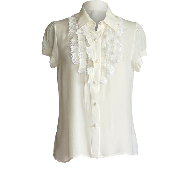 Red Valentino Top Pretty Gentle Ruffles SO Charming fits 8 - mightychic