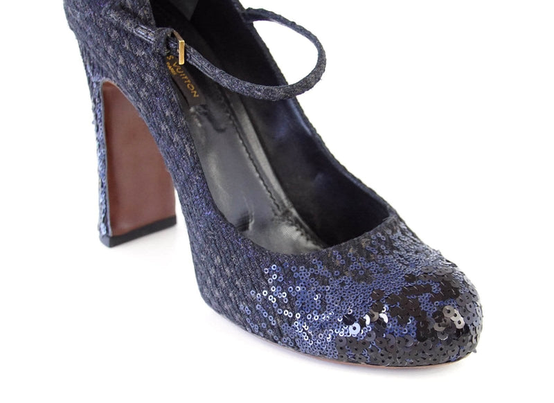 Louis Vuitton Shoe Mary Jane Tweed Sequined Detail 39 / 9 - mightychic
