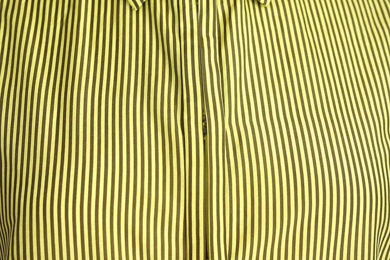 Versace Top Lean Cut Chic Yellow Brown Striped 42 / 8 - mightychic