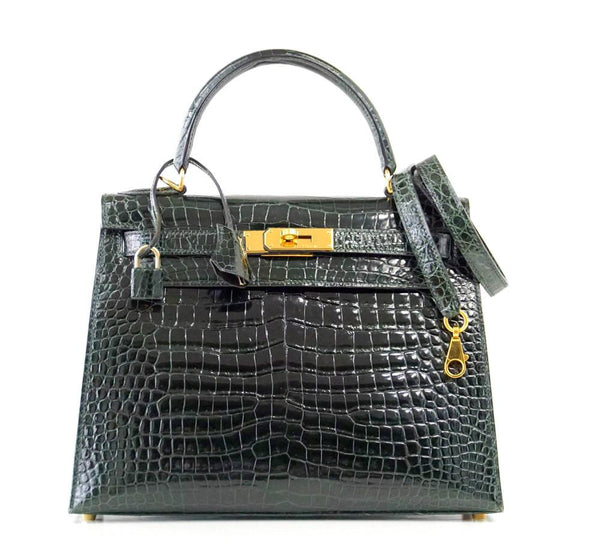 Hermes Kelly 28 Bag Exotic Vert Fonce Porosus Crocodile Gold