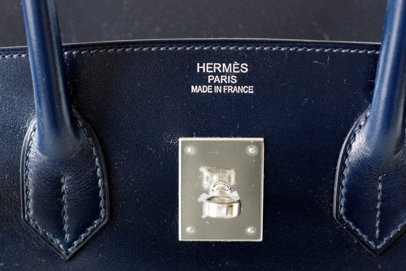 Hermes Birkin 35 Bag Bleu Blue Marine Coveted Rare Box Leather Palladium - mightychic