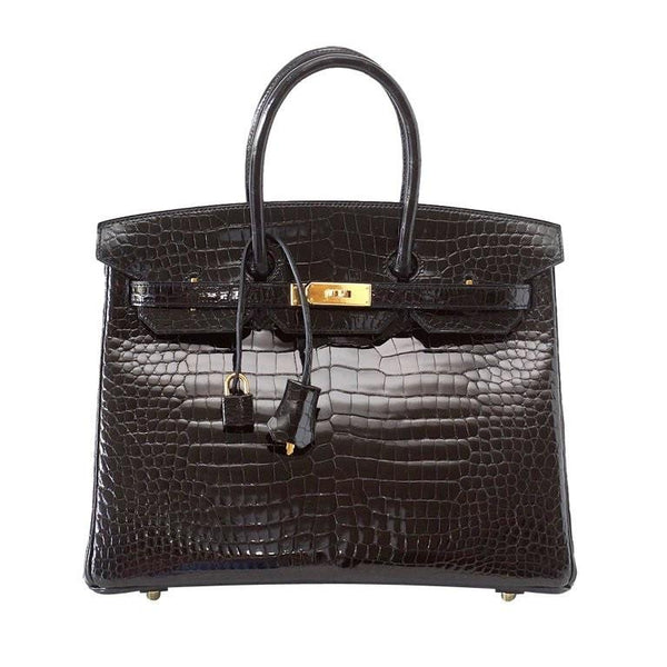 Hermes Birkin 35 Coveted Black Porosus Crocodile Gold Hdw Extraordinary Scales - mightychic