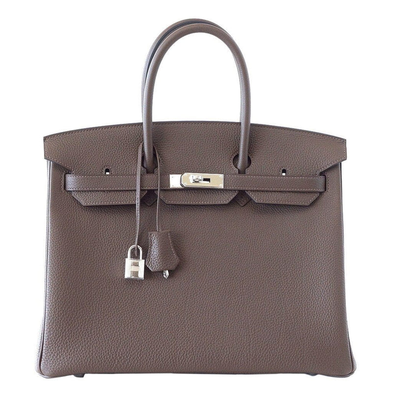 Hermes Birkin 35 Bag Ecorce (Bark)Taupe Togo Palladium - mightychic