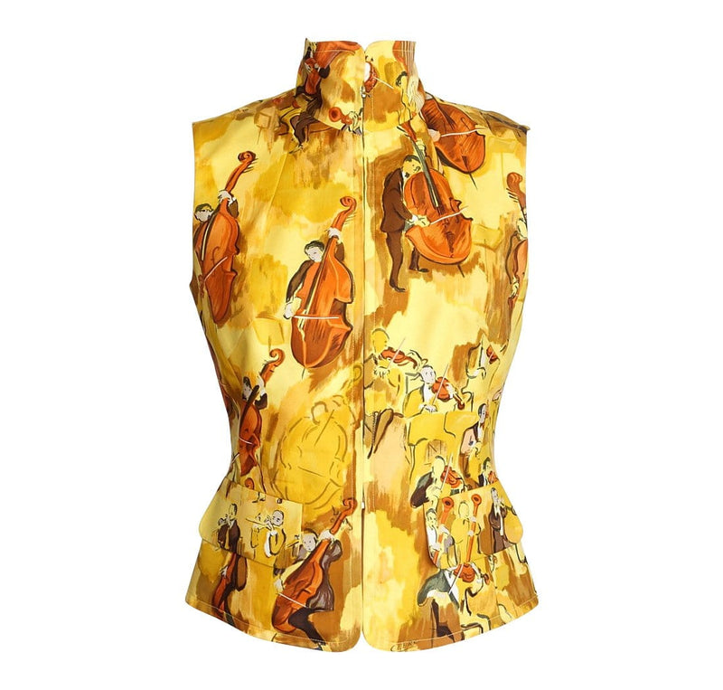 Hermes Vest Vintage Concerto Silk Scarf Print Zipper Front Yellow  38 / 4 to 6 - mightychic