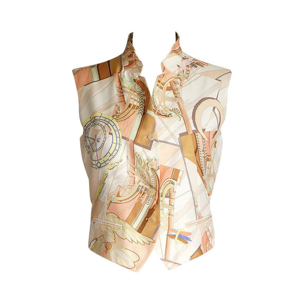 Hermes Vest Face Au Large Vintage Silk Scarf Print  38/6 - mightychic